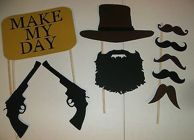 DIY Mustache Photo Booth Props Hat Beard Clint Eastwood Guns (2031D)
