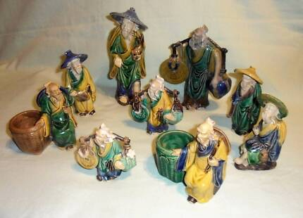 Chinese vintage mudmen figures x 9 - ex.cond