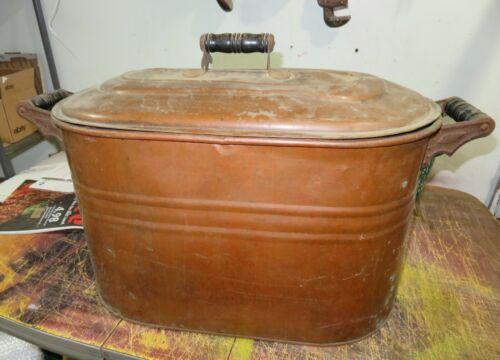 Antique Vintage Copper Boiler With Lid Wash Tub Wood Black Handles