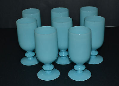 VINTAGE PORTIEUX VALLERYSTHAL BLUE OPALINE GLASS SET OF 8WATER OR WINE GLASSES