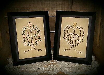 Handmade Set/2 5x7's Primitive Willows Stitchery