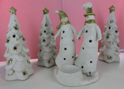 Yankee Candle Lot - 3 Lantern Christmas Trees & Skating Snowman Couple