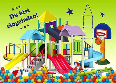 8 Einladungskarten Indoorspielplatz Geburtstag Kinder Mottoparty Einladungen NEU