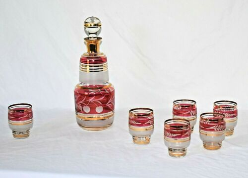 VTG Bohemian Decanter Set Etched Crystal Crandberry Red Floral 24k Gold accents