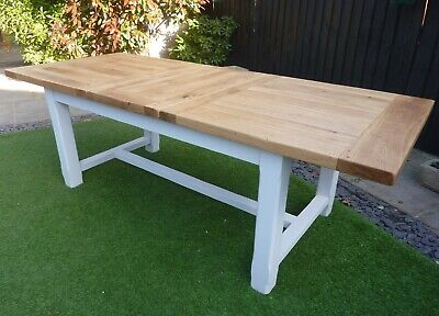 BERGERAC SOLID FRENCH OAK EXTENDING FARMHOUSE DINING TABLE. DELIVERY AVAILABLE