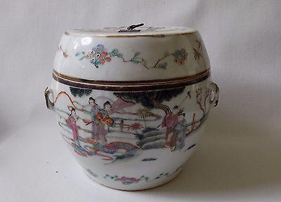 Chinese Antique Porcelain Famille Rose Tureen Figures Folk Story Marked
