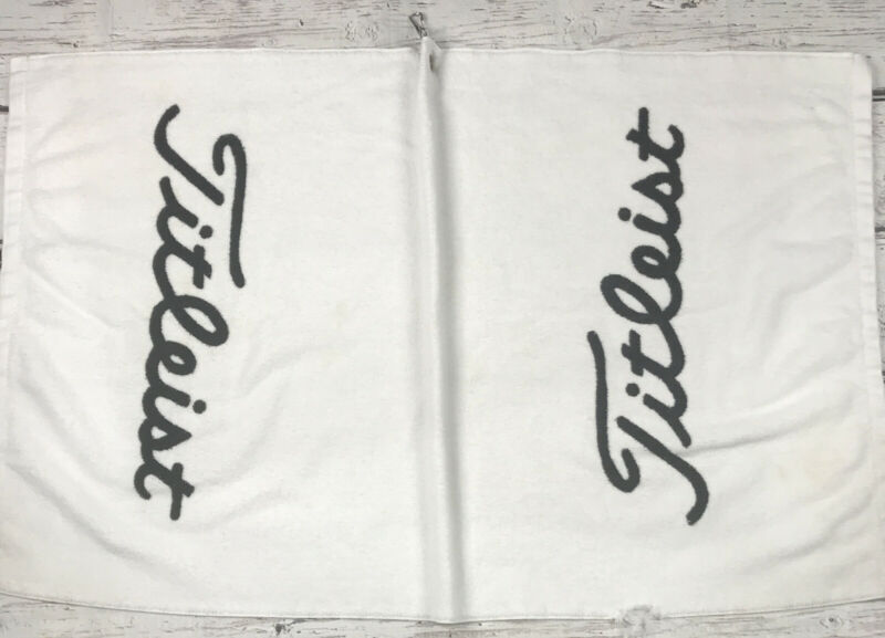 """Titleist Black and White Players Golf Towel Cotton 24"""" X 39"""" Preowned Flaws*"""