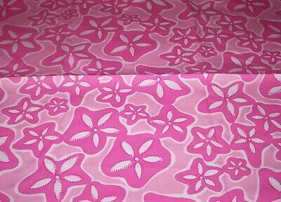 RARE LILLY PULITZER FABRIC*SAND DOLLARS*PINK CORAL WHITE*ELEGANT COTTON*17 X 17
