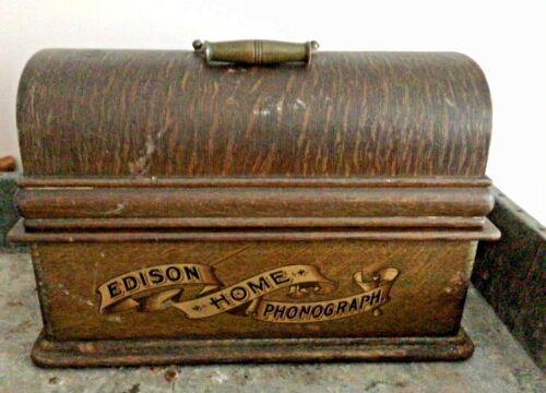 Antique EDISON HOME PHONOGRAPH w. Case, Parts or Repair