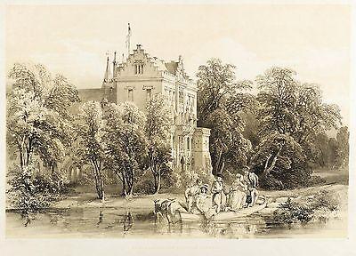 REINHARDSBRUNN (FRIEDRICHRODA) - SCHLOSS - GARTENSEITE - Tonlithografie 1846