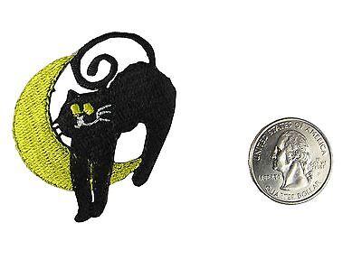 #4495 Halloween Moon Black Cat Embroidery Iron On Applique - Halloween Embroidery Appliques