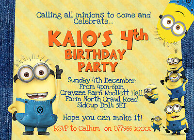Minion DESPICABLE ME Personalised Birthday Party Invitations x8Thick cards Pack ](Personalized Minion Birthday Invitations)