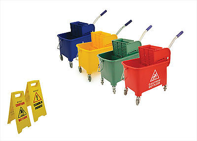 Wringer System - Industrial Colour Coded Mop Bucket Kentucky Mopping System Wringer on Wheels