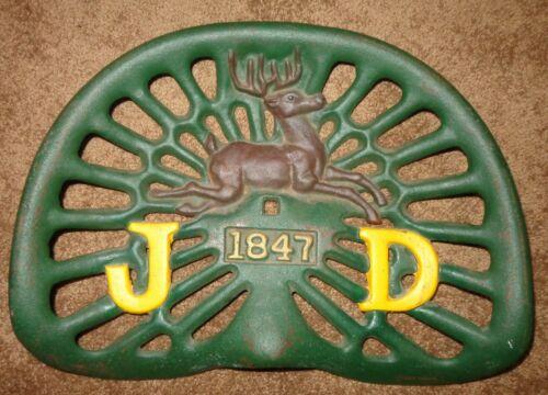 Old John Deere Cast Iron Tractor Seat 1847 6 Antlers 4 Legs Logo