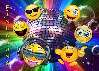 8 Einladungskarten Smiley Emoji Geburtstag Kinder Kindergeburtstag Einladungen