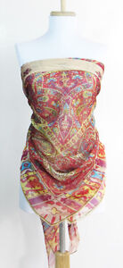 Large Paisley Design Silk/Viscose Square Scarf -- 52