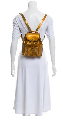 Authentic Gucci Small Vintage Back Pack Bamboo Gold Enamel 1303138