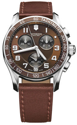 refurb  Victorinox Swiss Army 241498 Chronograph Brown Leather Strap Watch