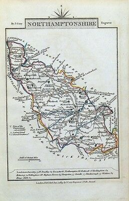 NORTHAMPTONSHRE John Cary  Hand Coloured Miniature Antique County Map 1819