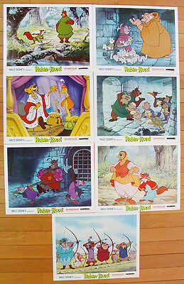 ROBIN HOOD (1973) - 7 Original 14x11 Lobby Cards for Animated 1973 Disney Film
