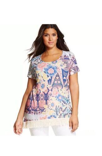 Style & Co. Womens Plus Size Fringe-Trim Printed Top Shirt Clothes 1X 2X 3X