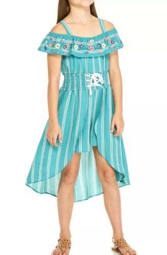 Beautees Big Girls Cold-Shoulder Pinstripe Crepe Walkthru Dr