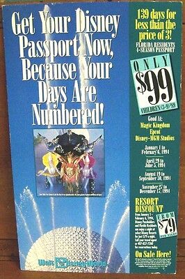 Authentic Disney Epcot Park Four-Season Pass Ticket Advertisement Sign 11x18in. for sale  Shipping to Canada