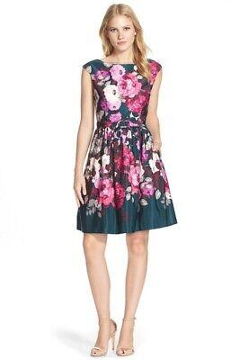 Eliza J Belted Floral Print and Flare Dress - Sz 14. NWT. $178 value - Belted Floral Print Kleid