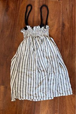 Belle Chiara Dress 10 Nwt Black White Smocked Jumper Rope Straps