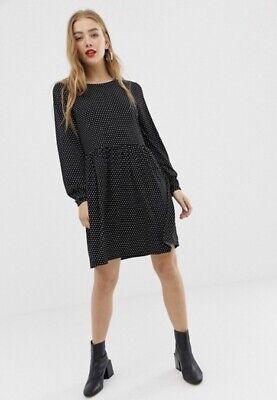 Jacqueline De Yong JDY @ Asos Long Sleeve Polka Dot Smock Dress-Size XS 8-10