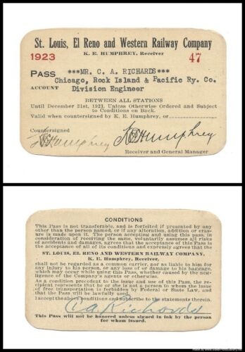 1923 S.L.E & W ~ St. Louis, El Reno and Western Railway Co. Pass ~ No. 47 ~ EXC