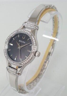 Bulova 96L259 Women's 27 mm Crystal Accent S/Steel Black MOP Dial Watch **NEW**