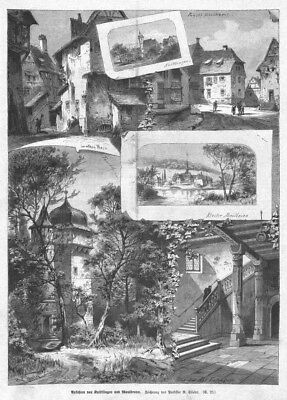 Maulbronn,  Kloster,  Knittlingen, Sammelblatt,, Original-Holzstich von 1891