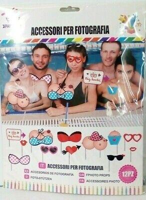 SET PHOTO BOOTH PER SELFIE E FOTO 12 pezzi PARTY FESTA A TEMA SEXY