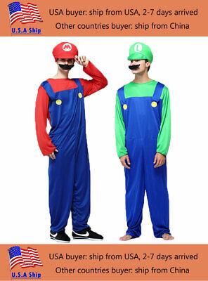 Super Man Costume (Halloween Costumes Men Super Mario Luigi Brothers Costume Jumpsuit Fancy)