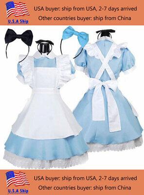 Alice In Wonderland Costume Party (Halloween Party Women Alice in Wonderland Costume Lolita Dress Maid)