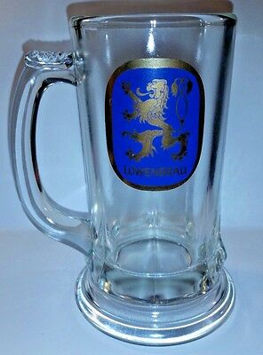 Stein-design Base (Lowenbrau Vintage Glass Beer Mugs Stein, Flared Base Design Lion Logo)