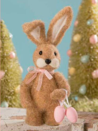 Bethany Lowe Little Miss Brown Easter Bunny Eggs Felted Figurine Decoration