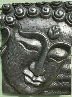 Buddha Wall Plaque Sculpture Indoor Outdoor Pewter finish