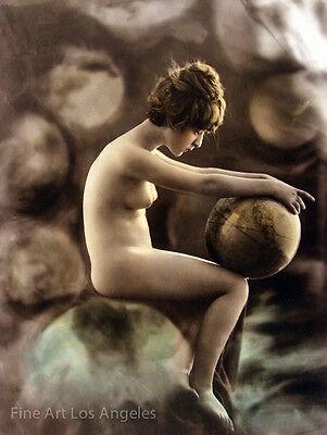 Charles Gilhousen Photo, Untitled Figure with globe, Art Nouveau, 1919