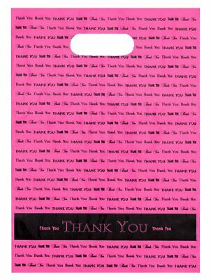 Bags Direct 9x12 Hot Pink Thank You Die Cut Handle Plastic Bags 50/cs Brand