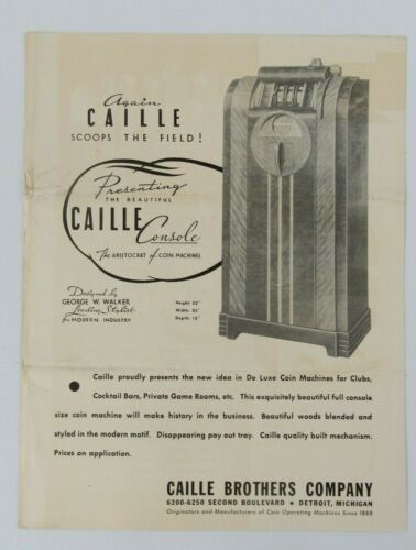 Original Caille Brothers Caille Console Art Deco Slot Machine Advertising Flyer