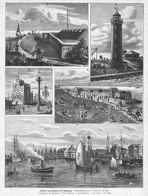 Cuxhaven und Umgebung, Ansichten, Original-Holzstich von ca. 1890