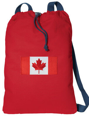 Canada Flag Backpack Canadian Flag Drawstring Bag FULLY LINED! COTTON NOT NYLON! ()