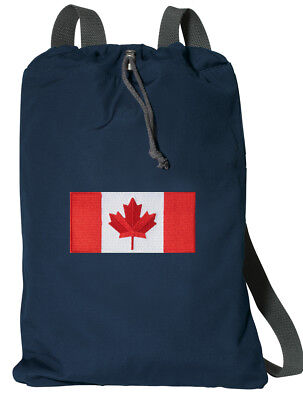 Canada Flag Backpack Canadian Flag Drawstring Bag Zippered Pocket! COTTON  ()