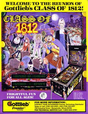 Gottlieb / Premier CLASS OF 1812 Original NOS Pinball Machine Flyer Horror Theme