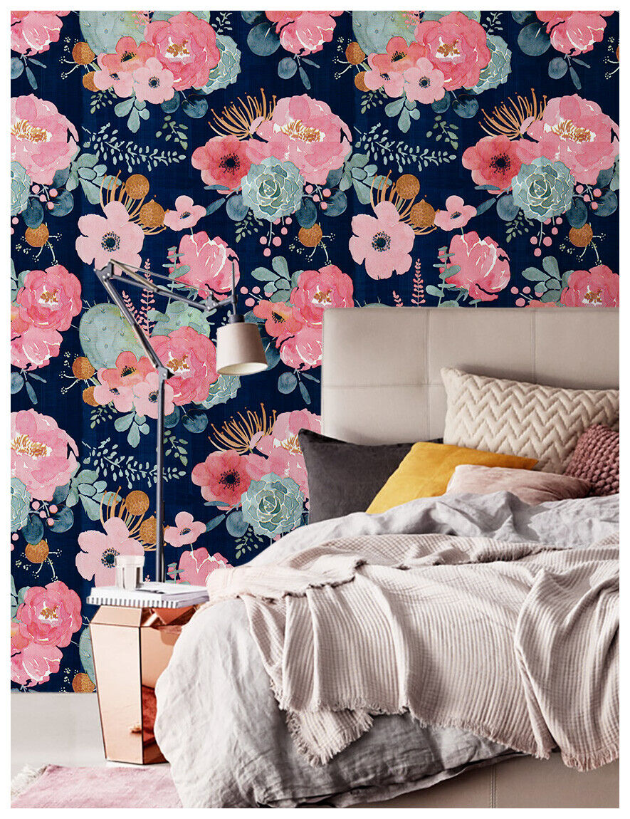 Stick And Peel Floral Wallpaper Pink Green Navy Blue Orange Kid