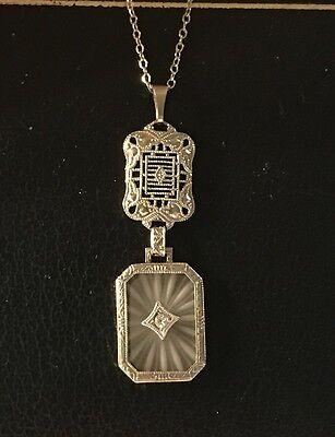 Edwardian 14k White Gold Filigree Camphor Glass Diamond Pendant
