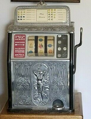 Superior Bell Dime 10 cent Slot Machine Caille Bros 1925 Nude Front prohibition