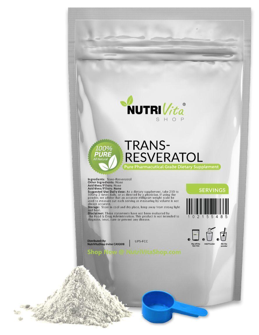 1000g 2.2lb 100% PURE Trans Resveratrol Anti-Aging Powder KOSHER/USP GRADE